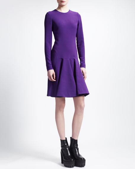 Stretch Cady Trumpet-Skirt Dress, Violet