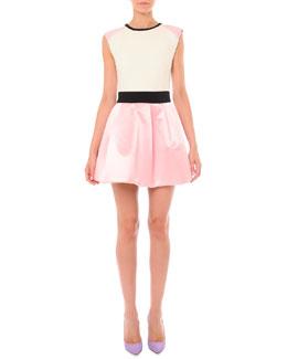 Sleeveless Colorblock Pouf-Skirt Dress