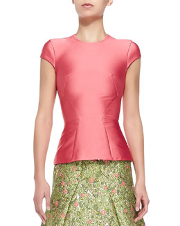 Structured Satin T-Shirt, Coral