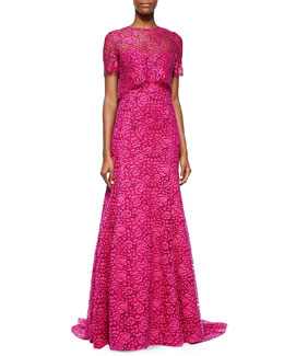 Fringe-Lace Overlay Gown, Pink