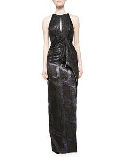 Halter Keyhole Draped Gown, Noir