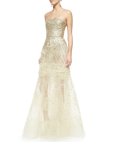 Strapless Sequined Feather-Detailed Gown, Gold