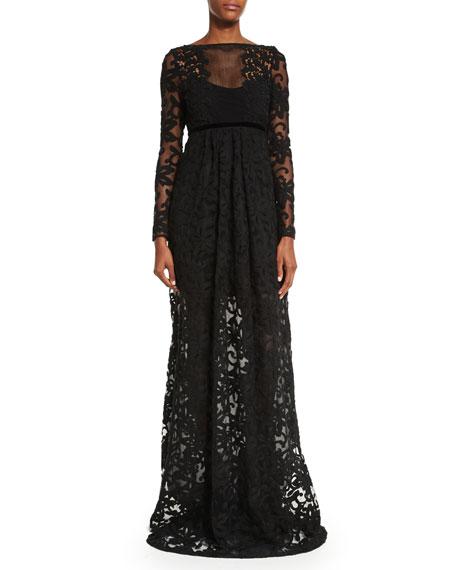 Long-Sleeve Macrame Gown, Black