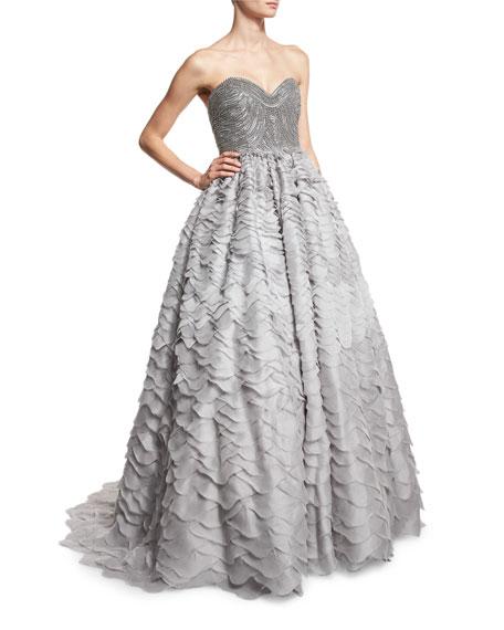 Alexandra Vidal Strapless Sweetheart Taffeta Ball Gown, Gray