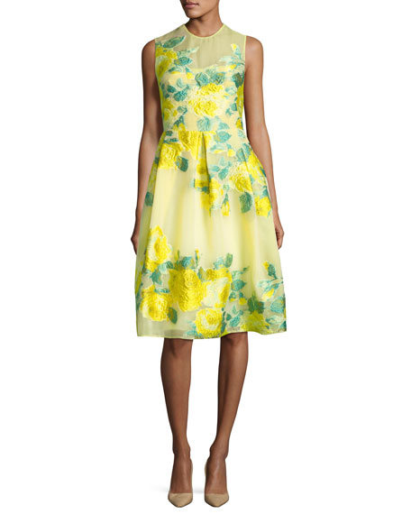 Grace Floral Fil Coupe Full-Skirt Dress, Yellow