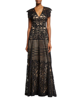 Floral Corded V-Neck Gown, Black