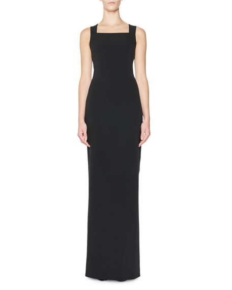 Double-Georgette Stretch-Woven Gown w/Cape