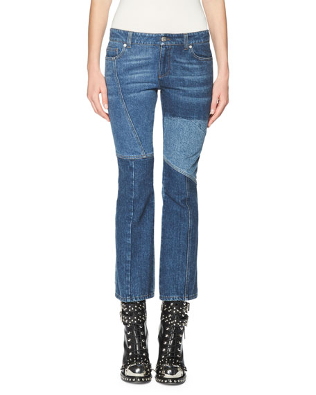Patchwork Kick Crop Jeans, Light Blue