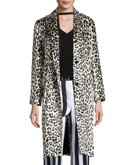 Leopard-Print Three-Button Coat