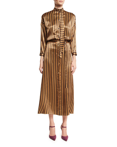 Striped Silk Midi Dress, Camel