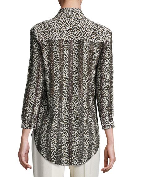 Striped Leopard-Print Silk Blouse