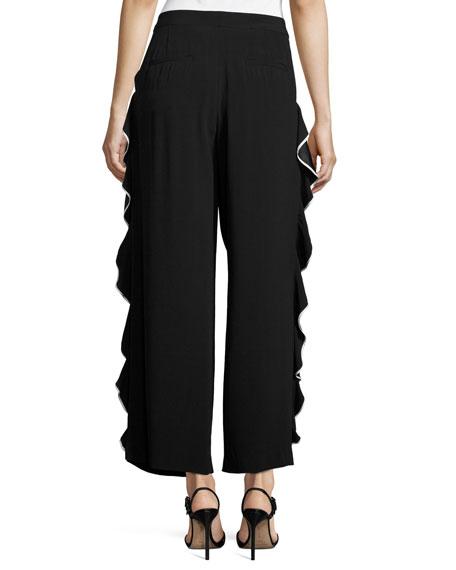 Tipped Ruffle-Trim Pants, Black