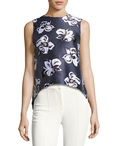 Adam Lippes Metallic Floral Jacquard Shell, Navy