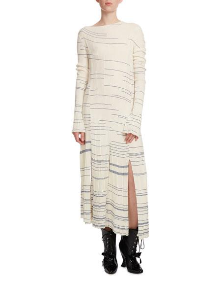 960d02f0c Loewe Striped Long-Sleeve Knit Dress, Blue/White