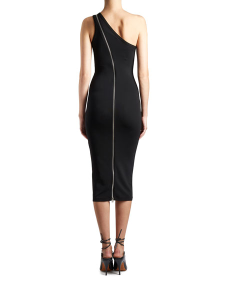 One-Shoulder Zip-Trim Dress, Black