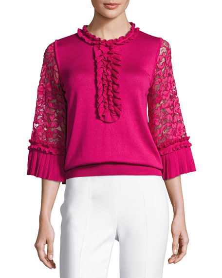 Ruffle Silk-Knit Top with Lace Sleeves, Fuchsia