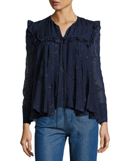 Embroidered Peasant Blouse, Blue