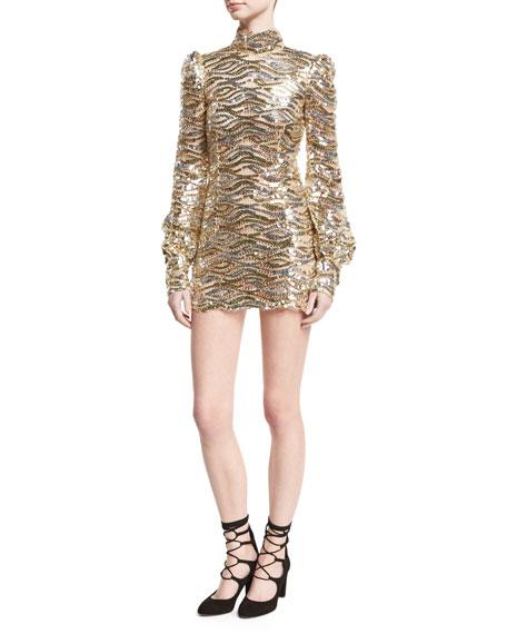 211023073293c4 Marc Jacobs Sequined Mock-Neck Mini Dress, Gold