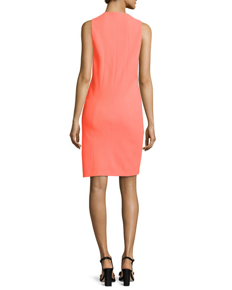 Deep-Armhole V-Neck Shift Dress, Bright Orange