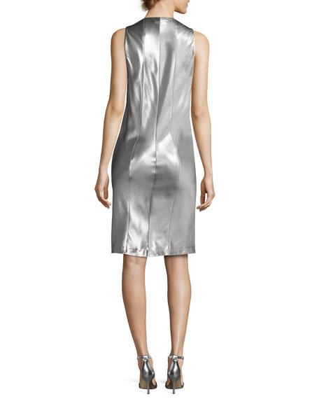Sleeveless Low-Armhole Shift Dress, Silver