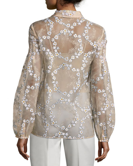 Selene Floral-Embroidered Silk Blouse, Blush