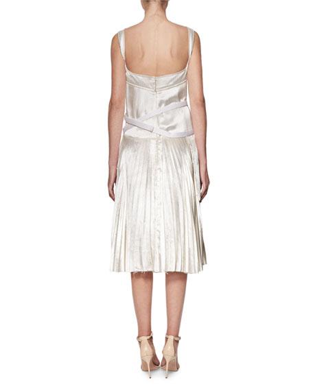 Sleeveless Bustier Plissé Midi Dress, Off White