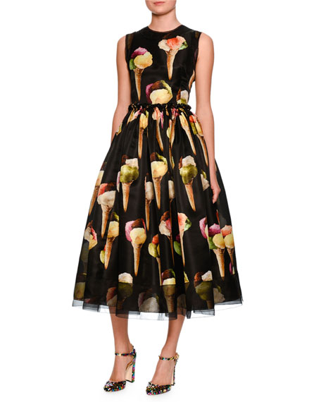 Sleeveless Gelato-Print Silk Dress