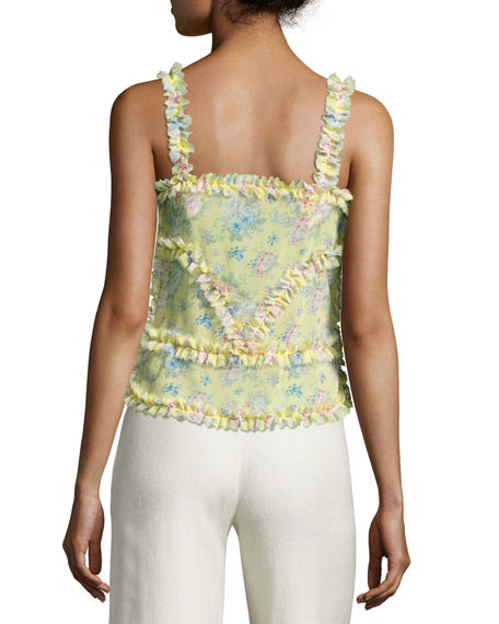 Patchwork Floral Silk Camisole Top, Yellow