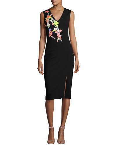 Ponte Knit Dress w/Floral Applique, Black