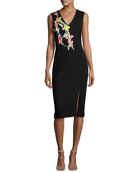 Jason Wu Ponte Knit Dress w/Floral Applique, Black