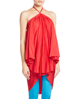 Pleated Halter Tie-Neck Dress, Red