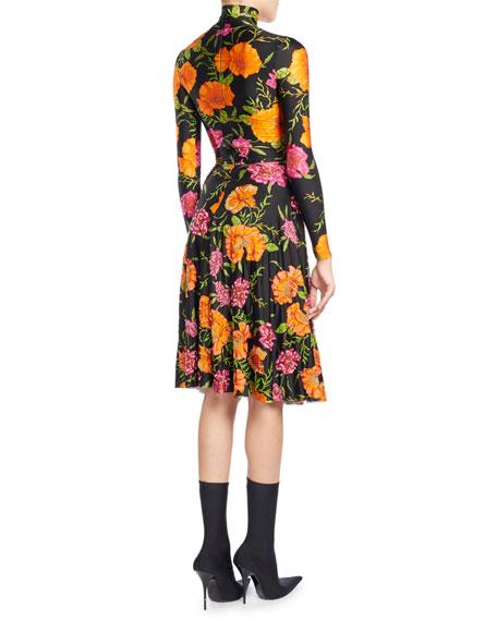 Floral-Print Mock-Neck Skater Dress, Black Pattern