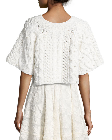 Cropped 1/2-Sleeve Cable-Knit Sweater with Pearl Details, Ivory