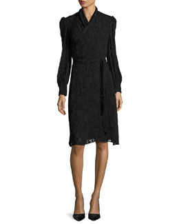 Burnout Long-Sleeve Wrap Dress, Black