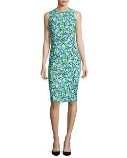 Spring Floral Sleeveless Sheath Dress, Blue
