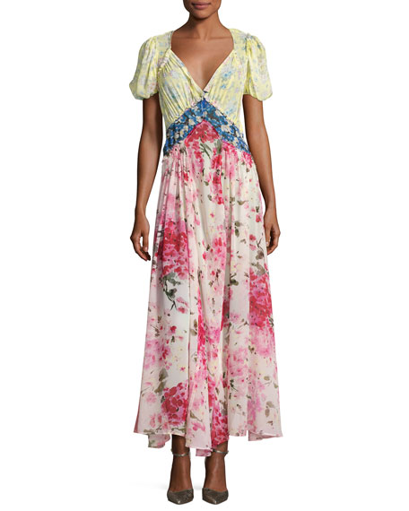 Attico Mixed Floral Georgette Maxi Dress Multicolor