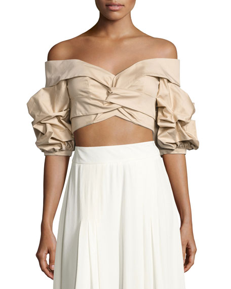 Mestizo Off-Shoulder Sateen Crop Top, Beige