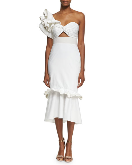 ff3b6c44519 Johanna Ortiz Maloka Poplin One-Shoulder Midi Dress, White