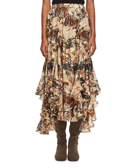 Deco Cloud Jacquard Maxi Skirt, Brown
