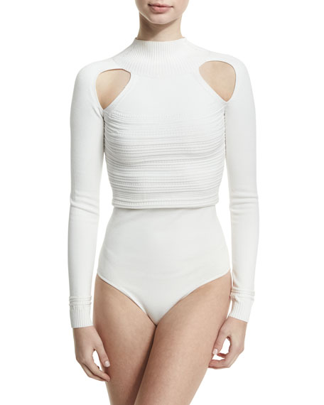 Ribbed Mock-Neck Thong Bodysuit with Cutouts, White