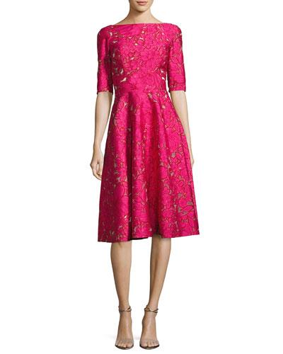 Floral Jacquard Elbow-Sleeve Full-Skirt Dress