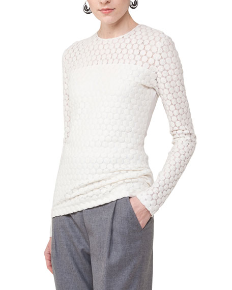 Long-Sleeve Punto Lace Top