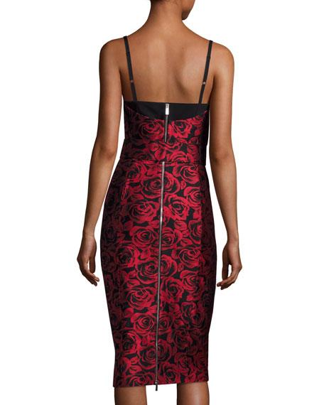 Rose Jacquard Bustier Cocktail Dress, Red/Black