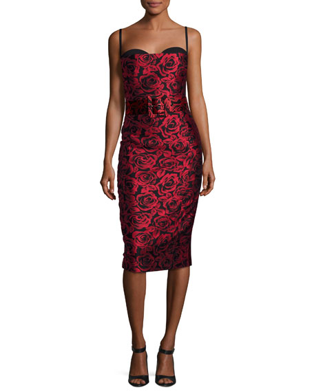 Rose Jacquard Bustier Cocktail Dress, Red/Black