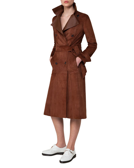 Suede & Leather Double-Breasted Trench Coat, Bronze