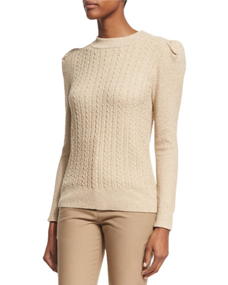 Metallic Cable-Knit Puff-Sleeve Sweater