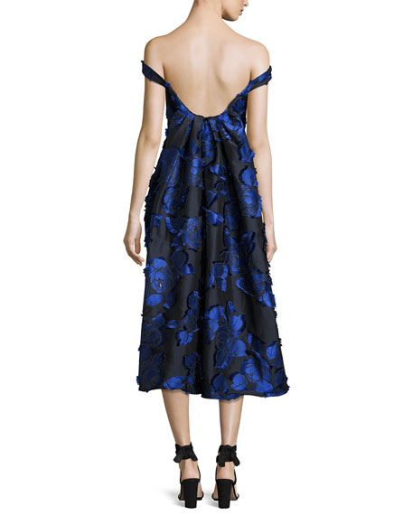 Off-the-Shoulder Floral Brocade Dress with Flounce Back