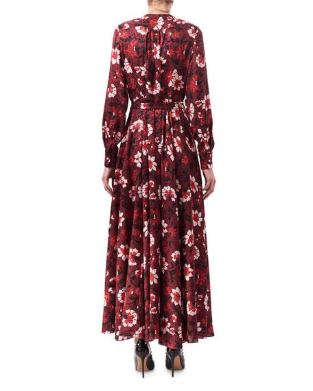 Melia Floral Silk Button-Front Maxi Dress