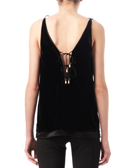 Gemme Velvet & Satin Tie-Shoulder Top, Black
