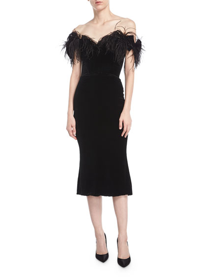 Off-the-Shoulder Velvet Cocktail Dress with Ostrich Feathers